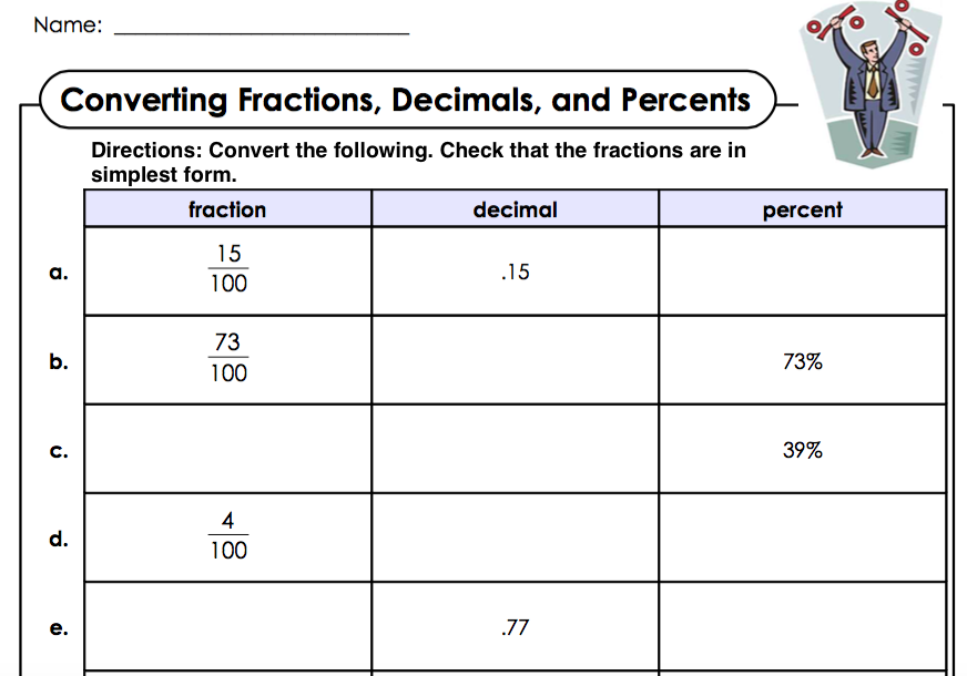Homework help fractions percentages – Fraction to Decimal to Percent Worksheet